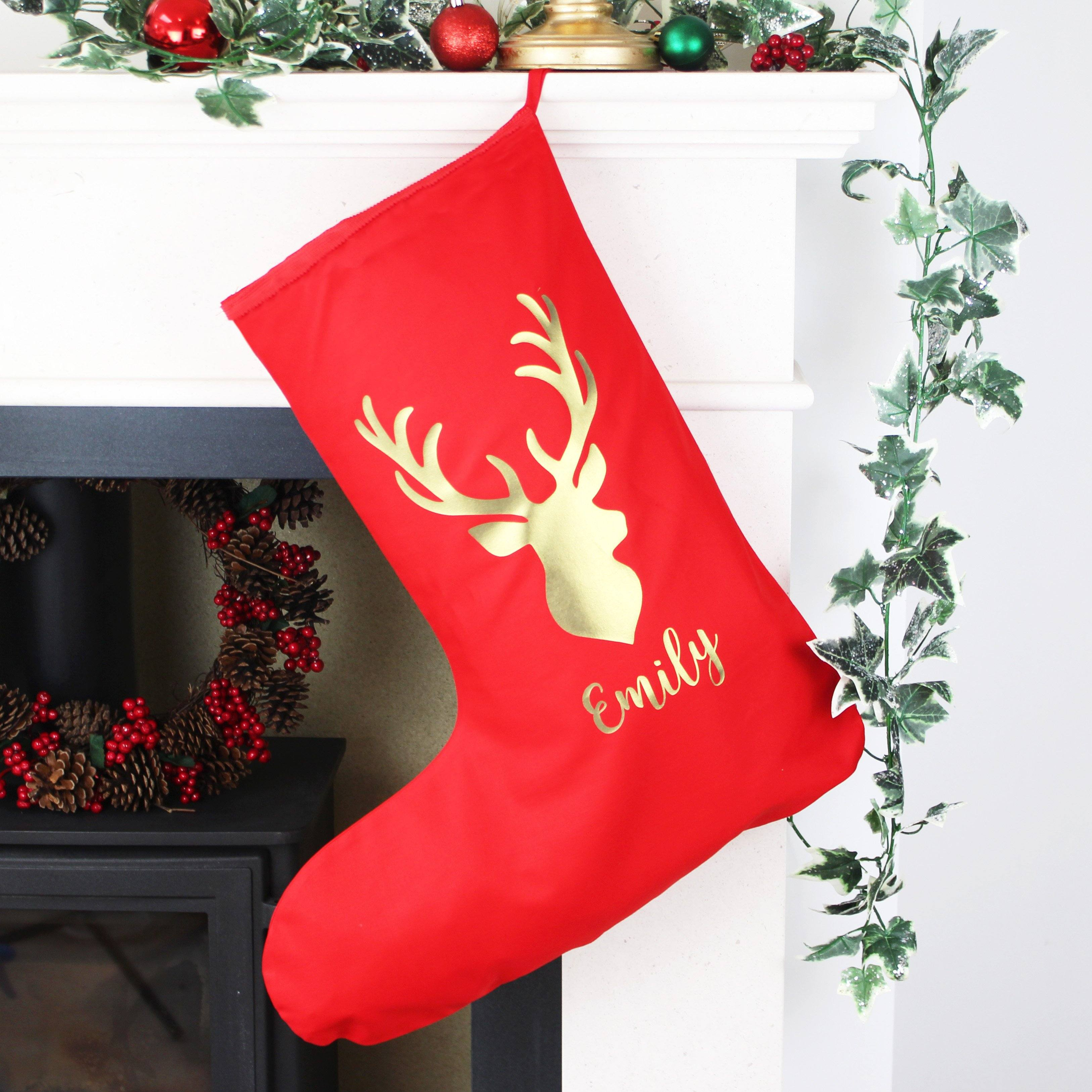 Personalised Christmas Stocking With Reindeer