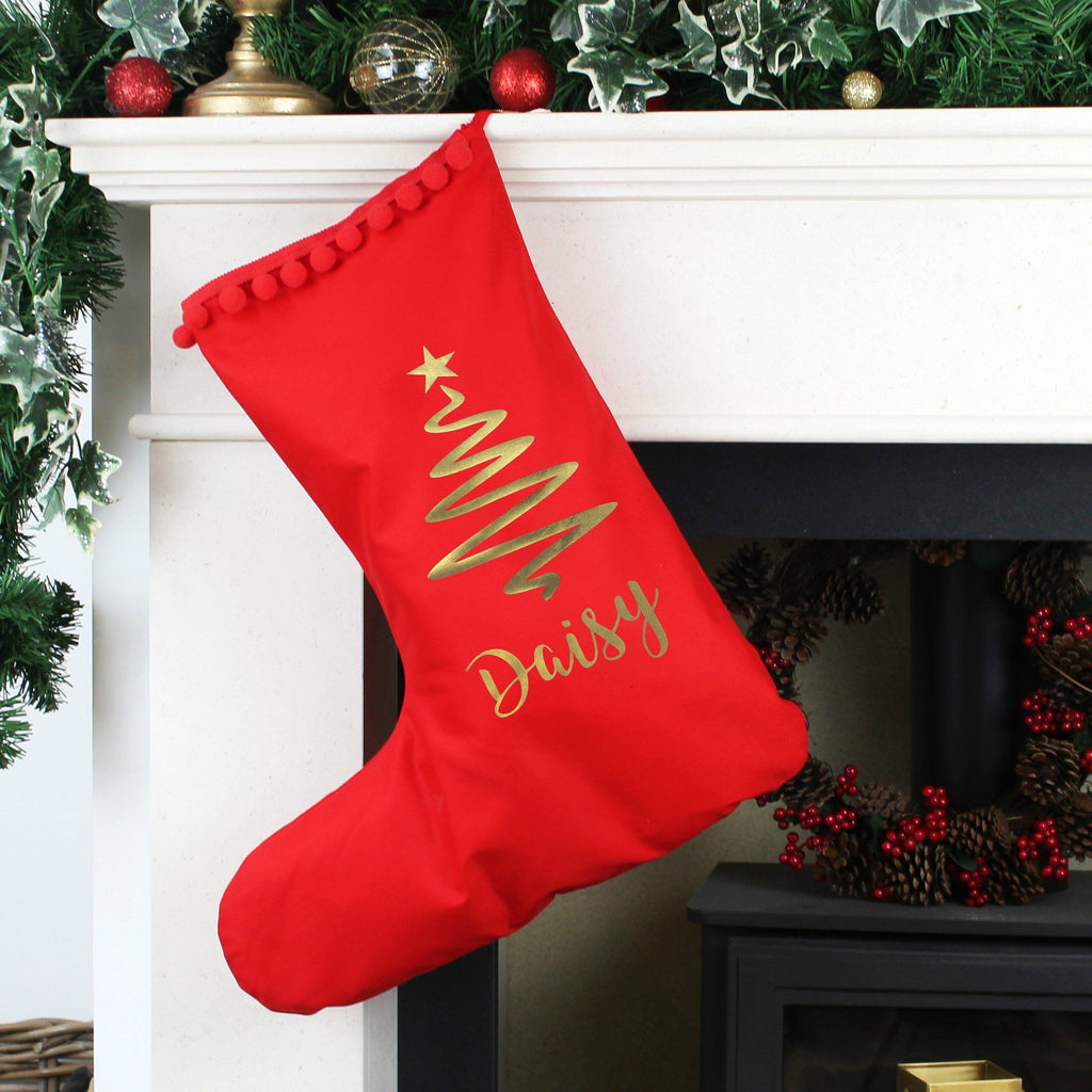 Personalised Christmas Stocking with Christmas Tree,Christmas - Betty Bramble