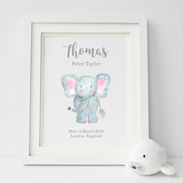 Personalised Elephant New Baby Nursery Print,Art Print - Betty Bramble