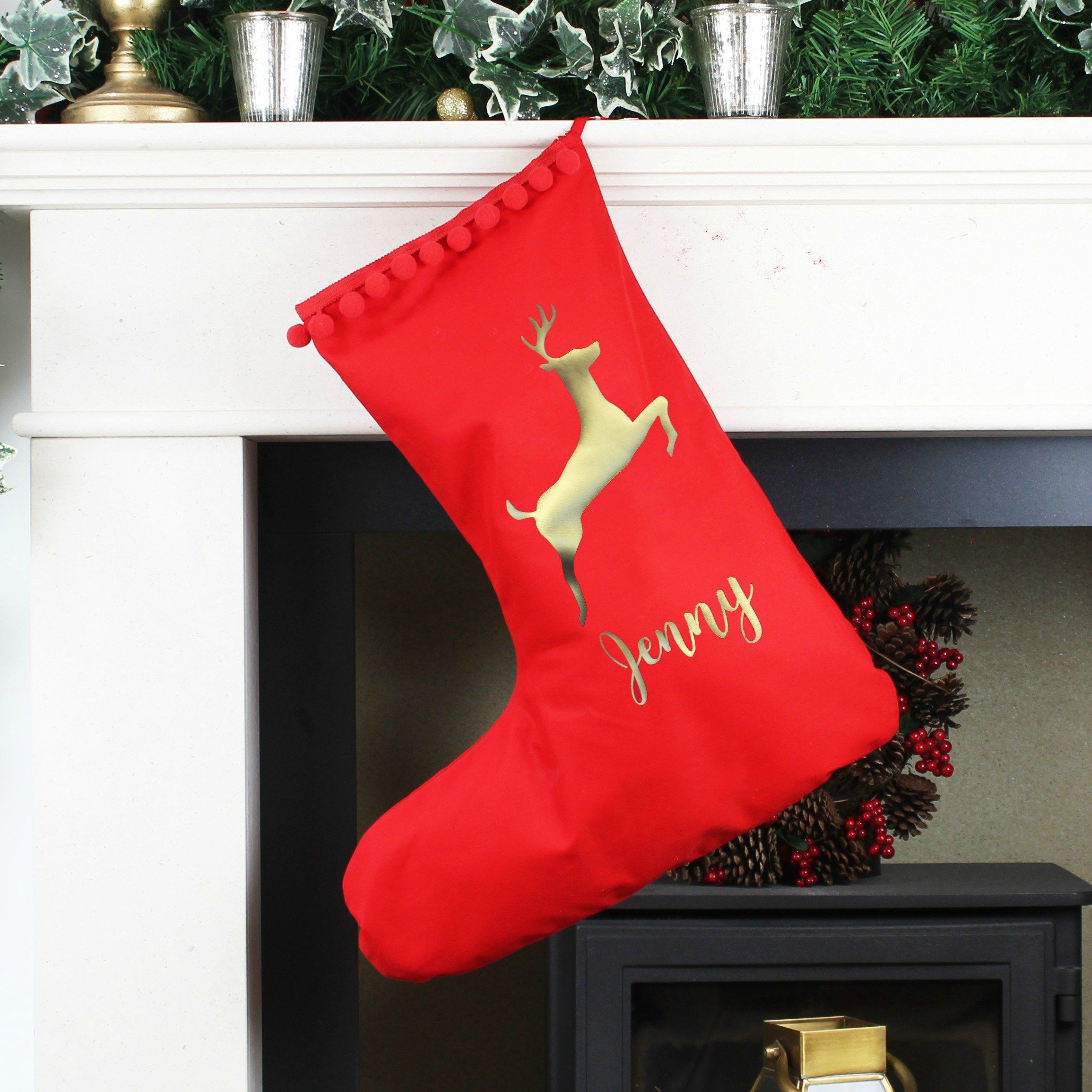 Personalised Christmas Stocking With Leaping Stag