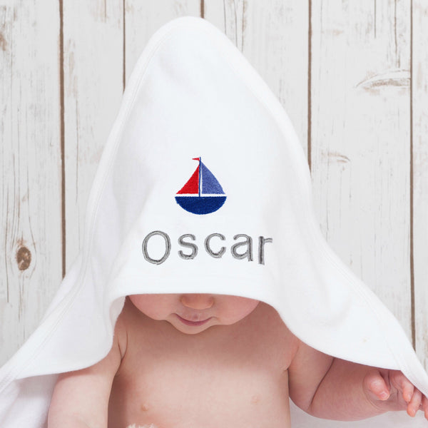 Personalised Boat Baby Towel,Baby Towels - Betty Bramble