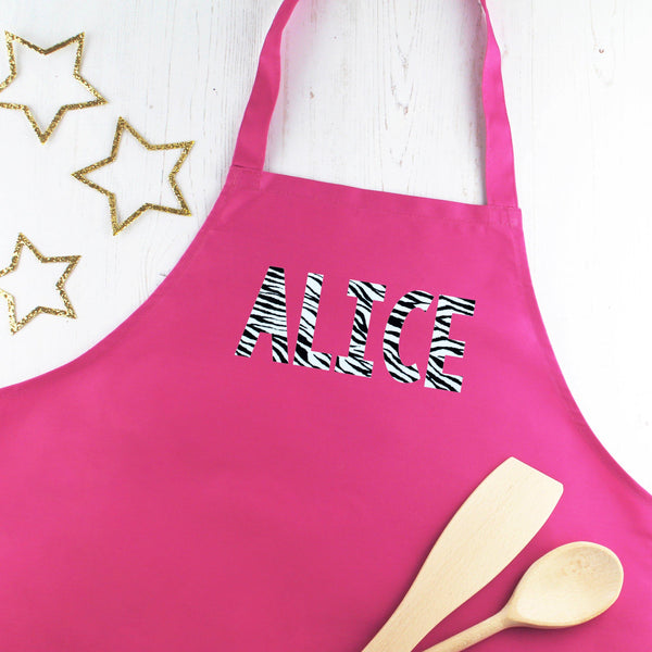 Personalised Zebra Print Ladies Apron, - Betty Bramble