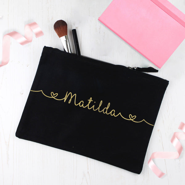 Personalised Make Up Bag with Name and Hearts, - Betty Bramble