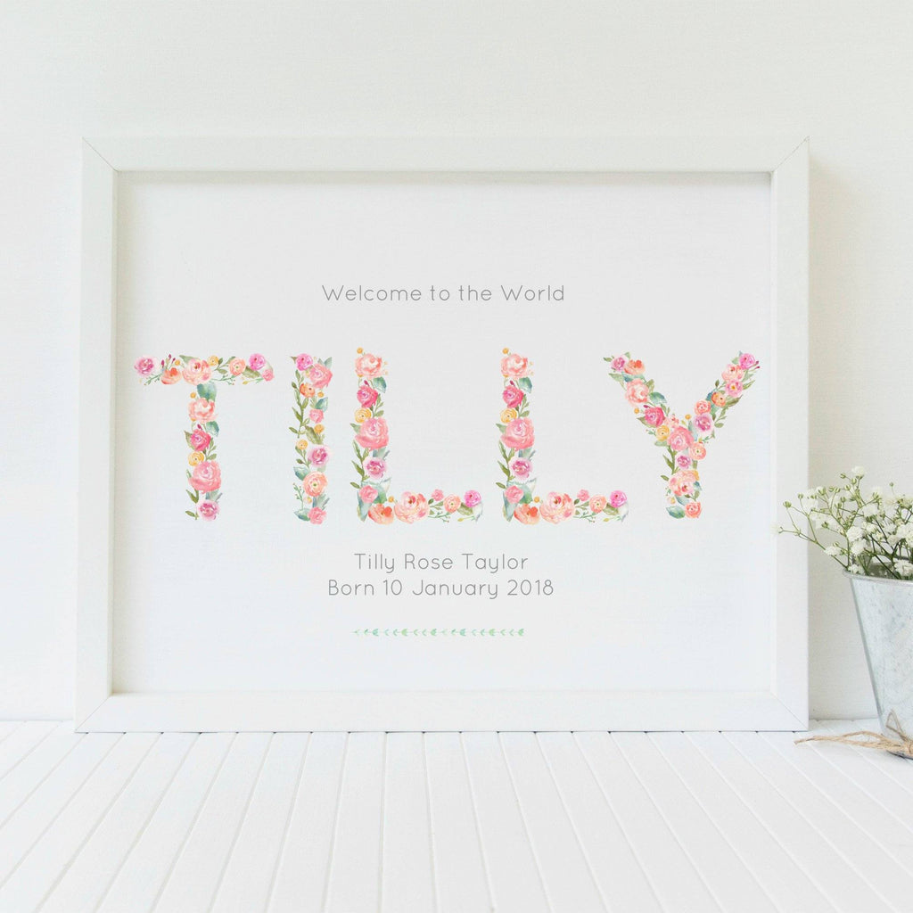 Personalised New Baby Floral Nursery Art Print,Art Print - Betty Bramble