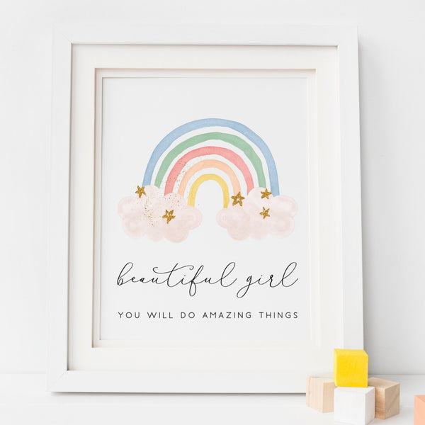 Beautiful Girl Rainbow Nursery Art Print