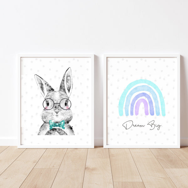 Bunny Rabbit and Rainbow Boys Nursery Art Print