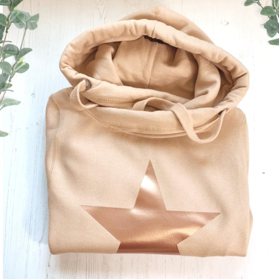 Star Cowl Neck Hooded Sweatshirt in Nude