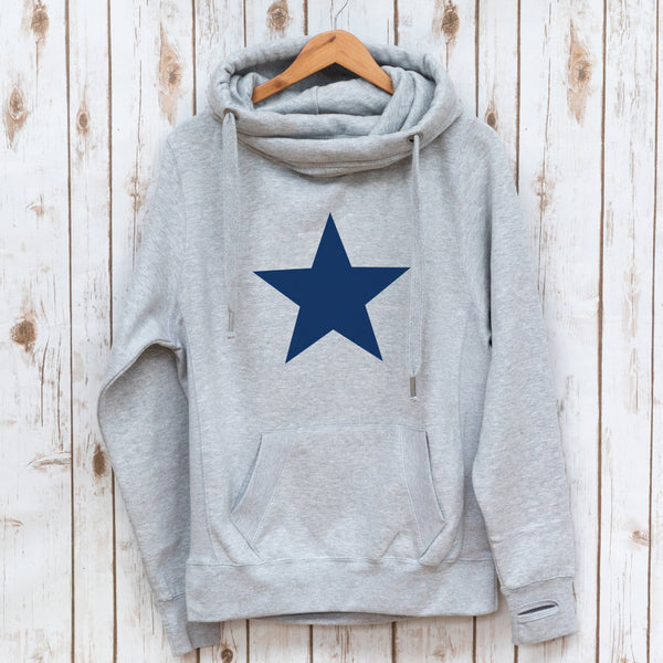 Navy Star Cowl Neck Sweatshirt,Ladies Sweatshirt - Betty Bramble