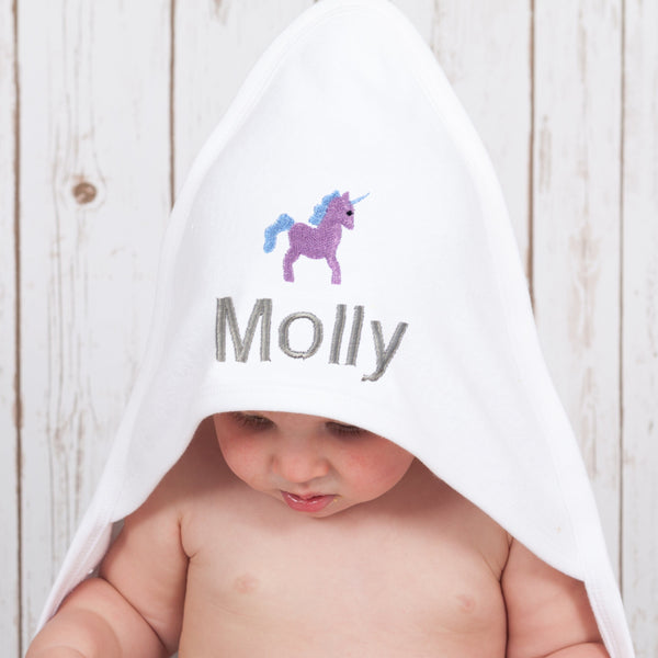 Personalised Unicorn Baby Towel,Baby Towels - Betty Bramble