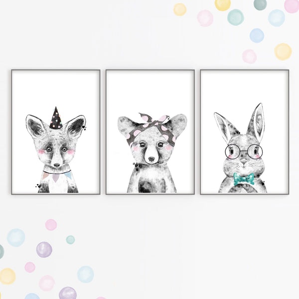 Monochrome Party Animal Art Prints,Art Print - Betty Bramble