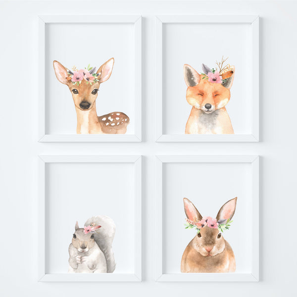 Floral Woodland Animals Nursery Art Print Set,Art Print - Betty Bramble