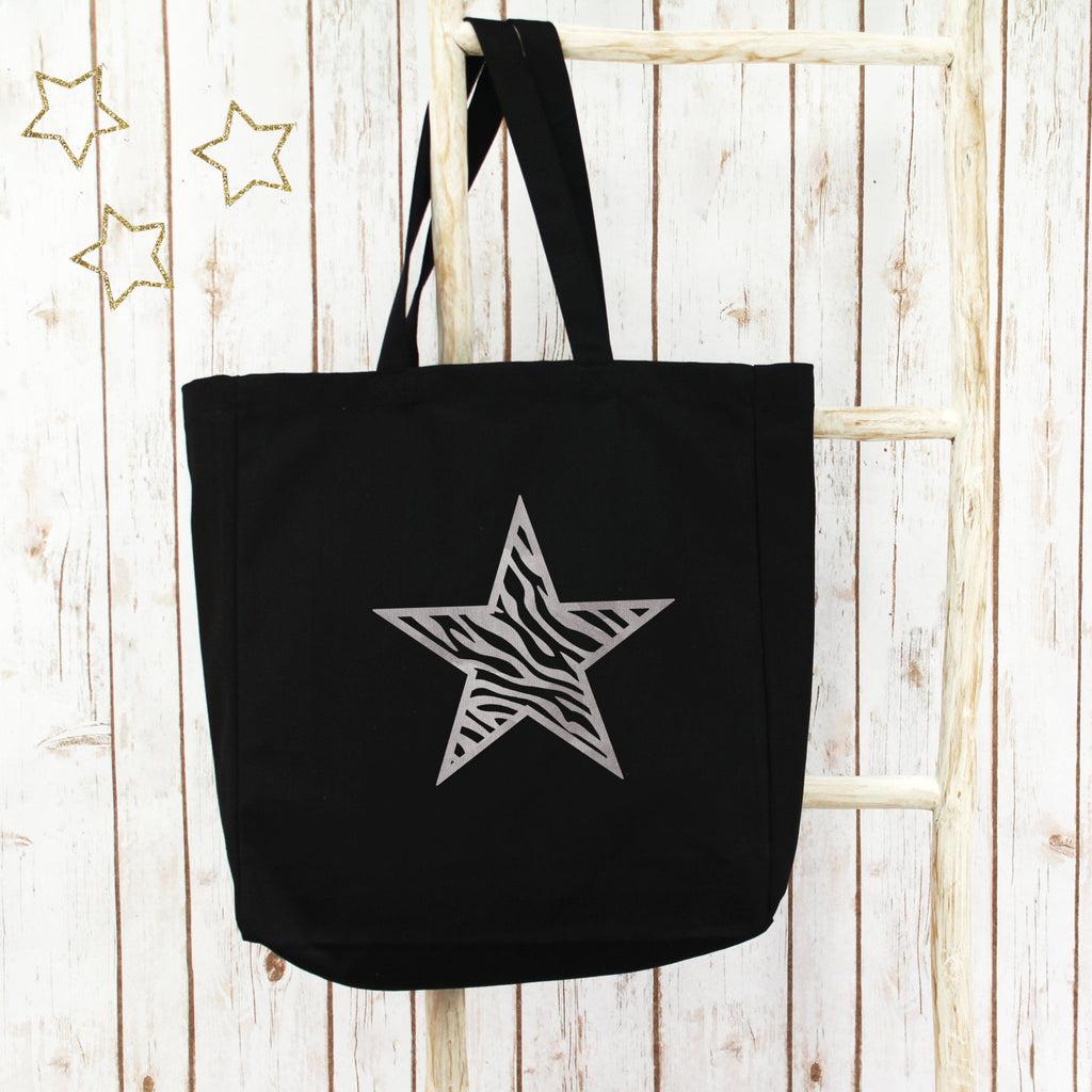 Zebra Star Large Tote Bag, - Betty Bramble