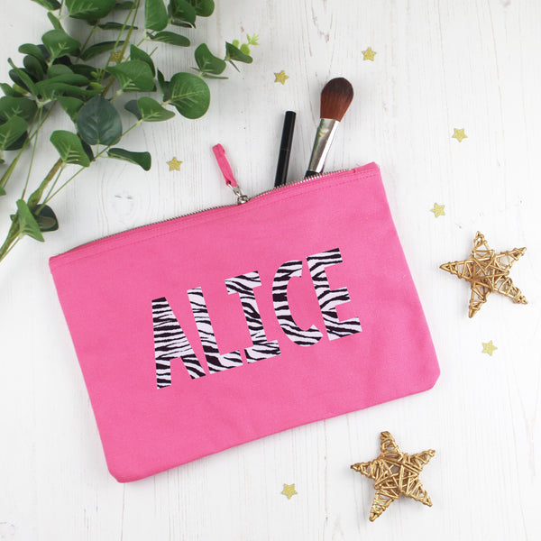 Zebra Print Make Up Bag with Name, - Betty Bramble