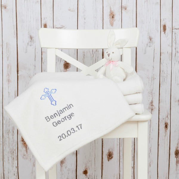 Personalised Fleece Christening Baby Blanket,Baby Blankets - Betty Bramble