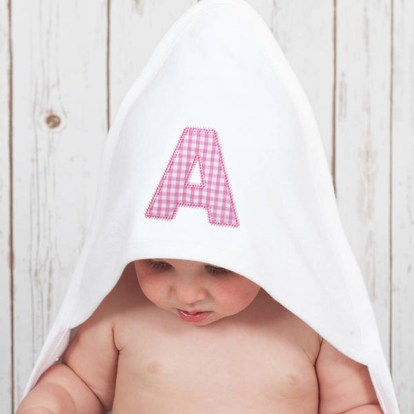 Personalised Gingham Hooded Baby Towel,Personalised Baby Gifts - Betty Bramble