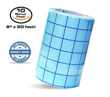 "Transfer Paper Tape Roll (12"" x 12 Foot, 12"" x 25 Foot, 6"" x 50 Foot) CLEAR w/ Blue Alignment Grid 