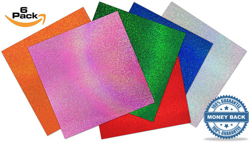 Self Adhesive Craft Vinyl Sheets Glitter Sparkles | For Cricut Expression Explore Silhouette Cameo Vinyl Cutters | Adhesive Backed for Decals-Stickers-Decorations-Signs (6 Pack) | 12