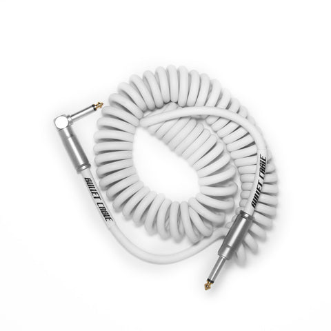 BULLET CABLE 15′ WHITE COIL CABLE - Bullet Cable