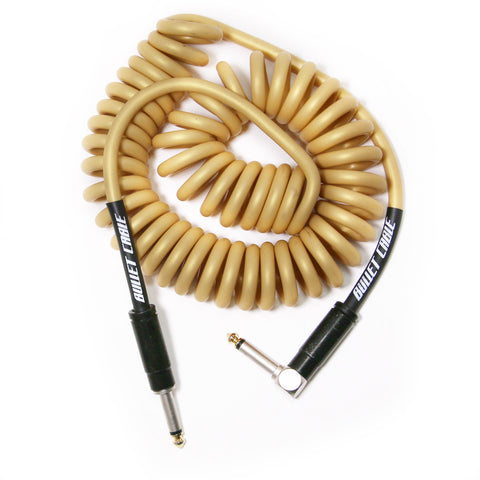 BULLET CABLE 15′ GOLD COIL CABLE-Mini Coil-Bullet Cable