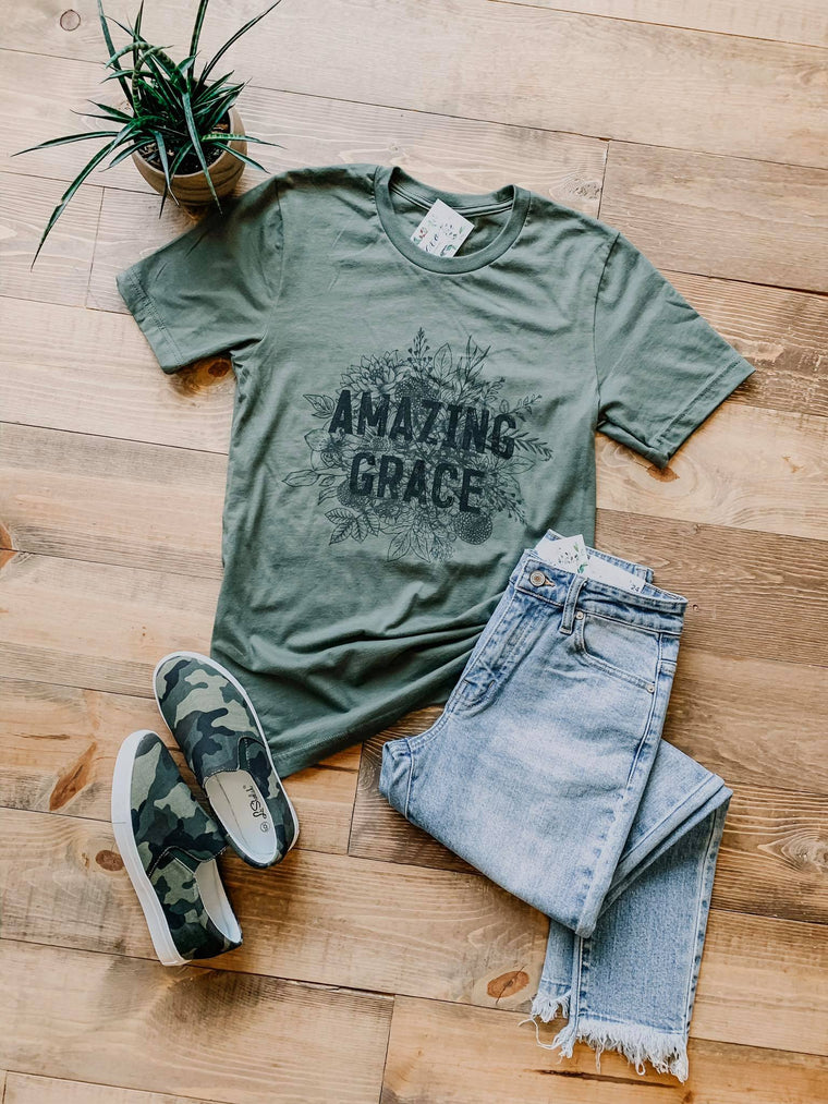 Amazing Grace Graphic Tee (Military Green)