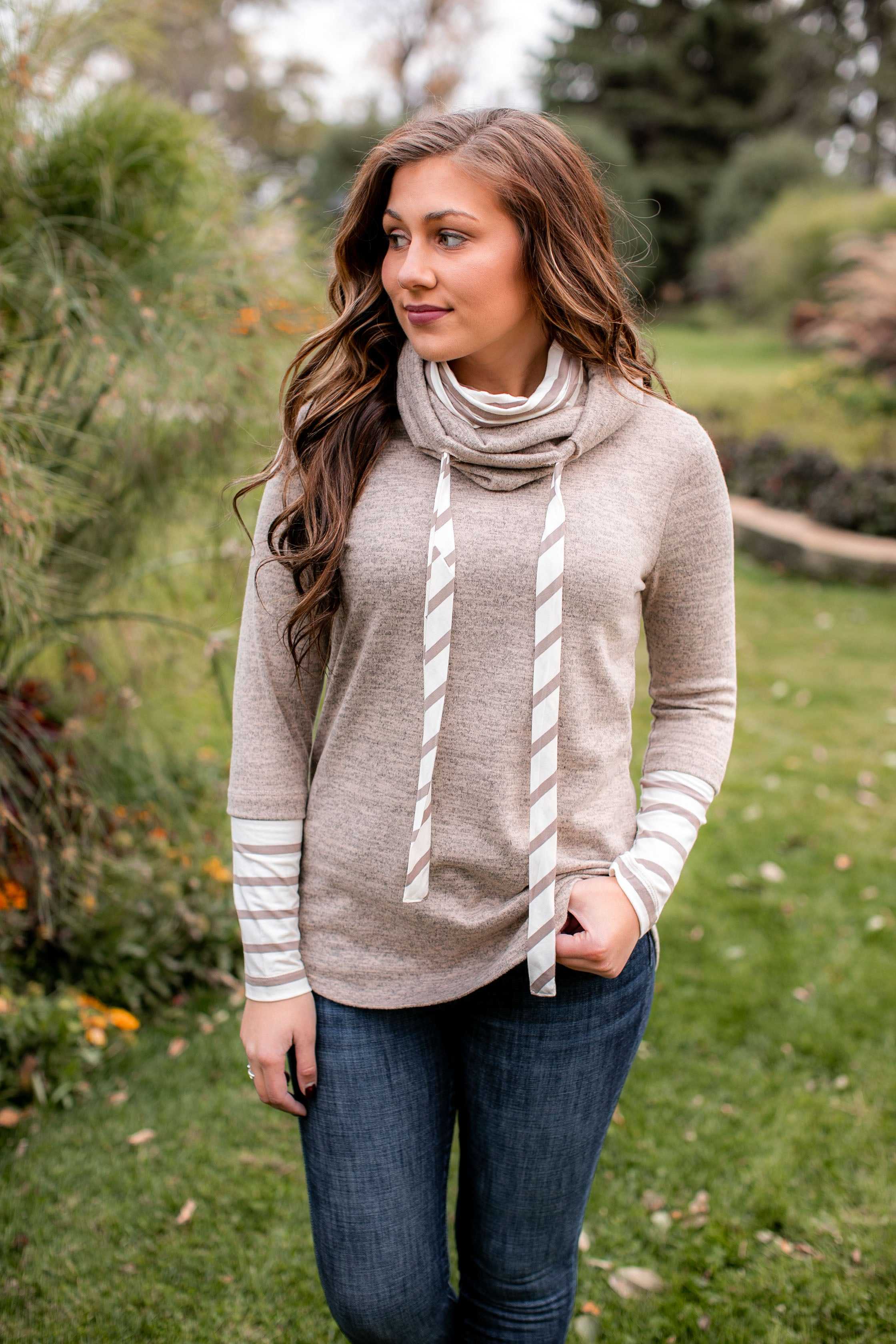 Cozy Double Cowl Neck (Taupe)