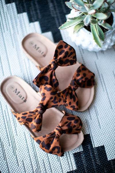 (SALE) Double Bow Sandals (Animal Print)