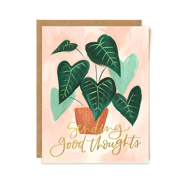 Green Leaf Good Thoughts Greeting Card