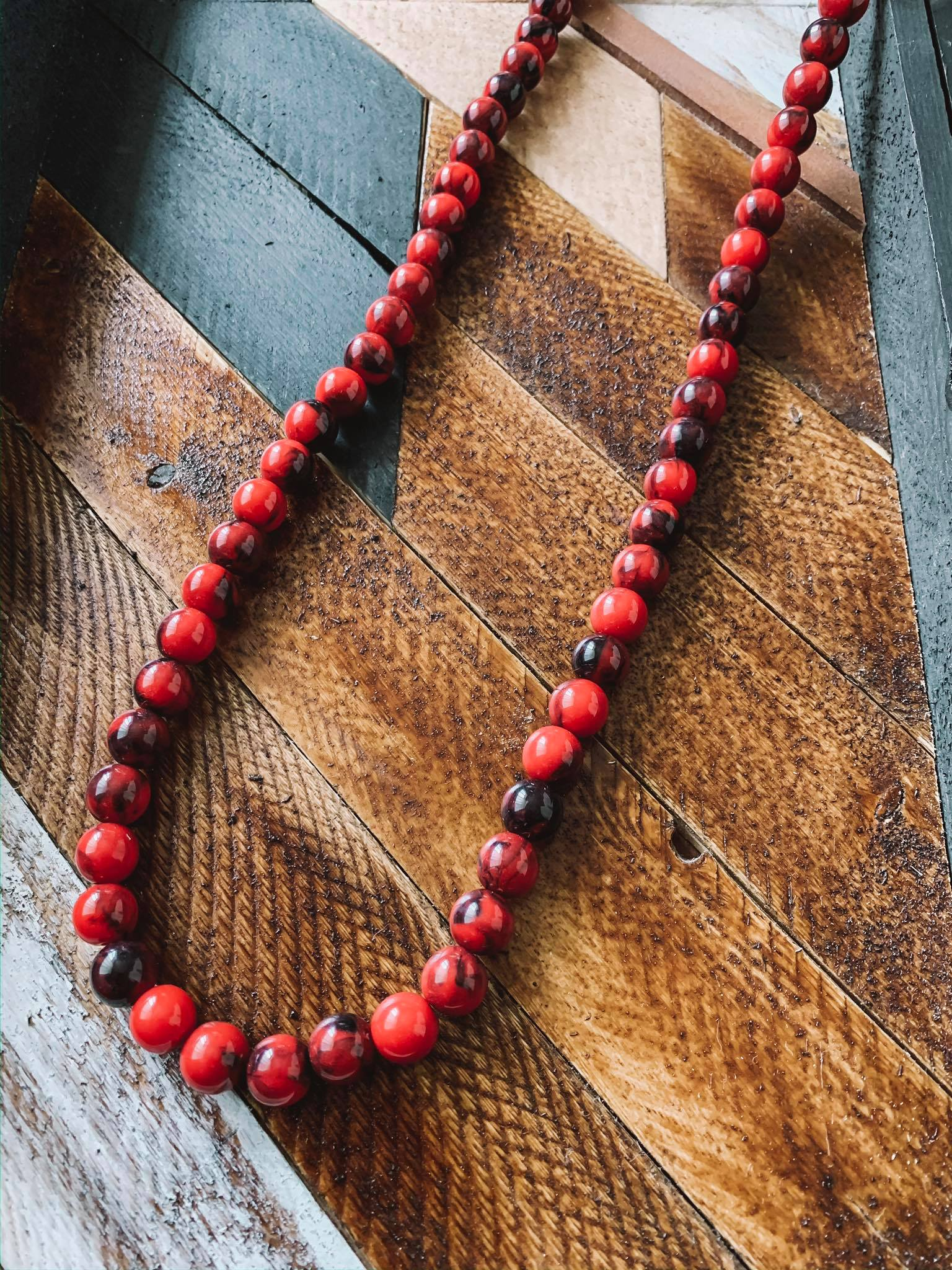 Red Hot Single Strand Necklace