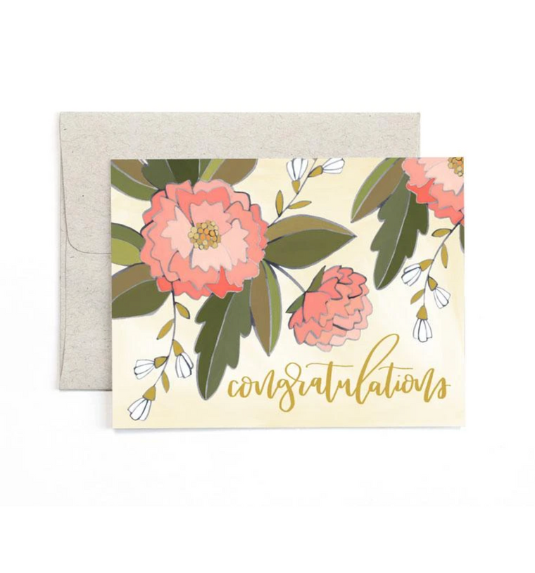 Congrats Peonies Greeting Card