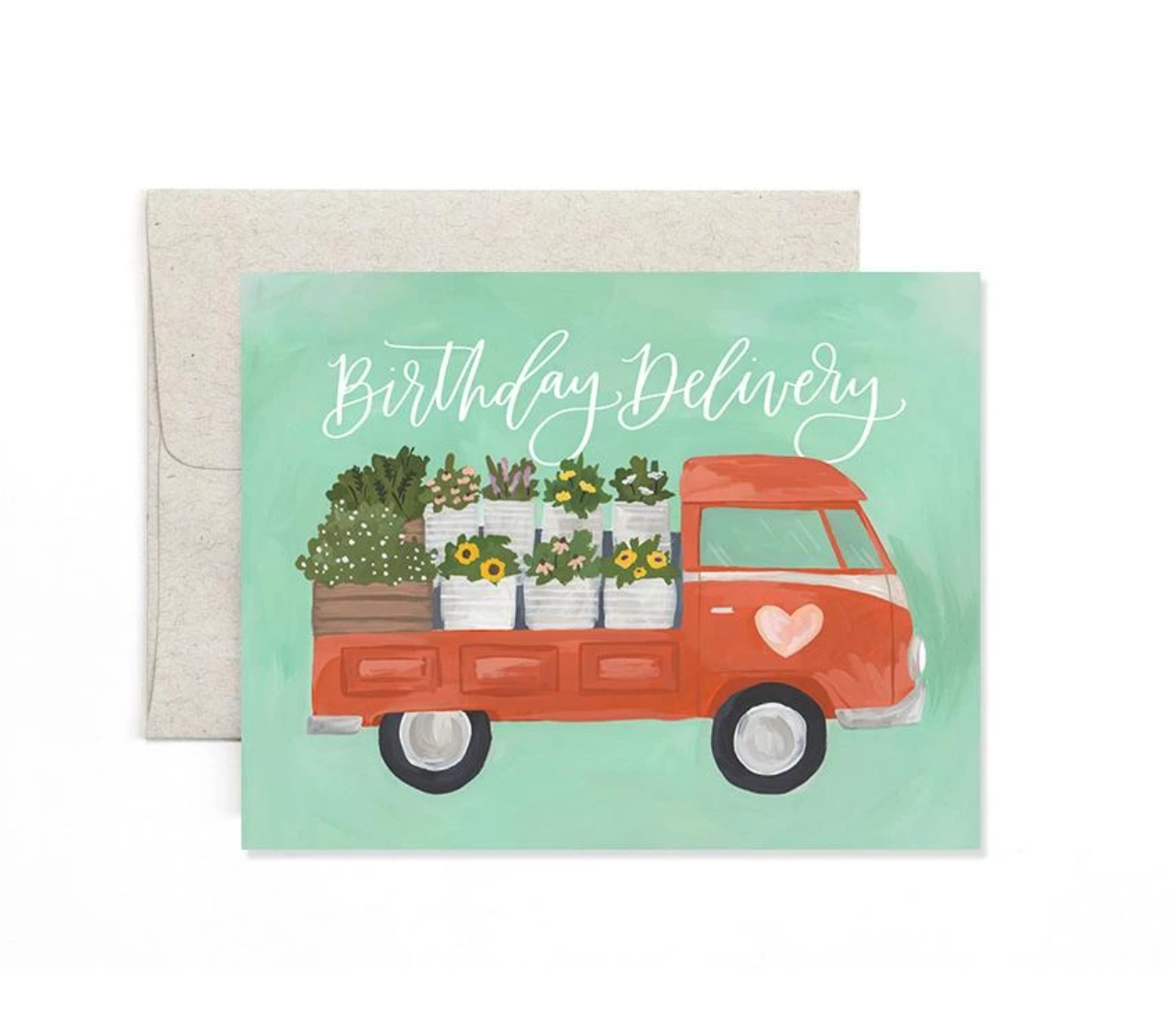 Flower Truck Birthday Greeting Card