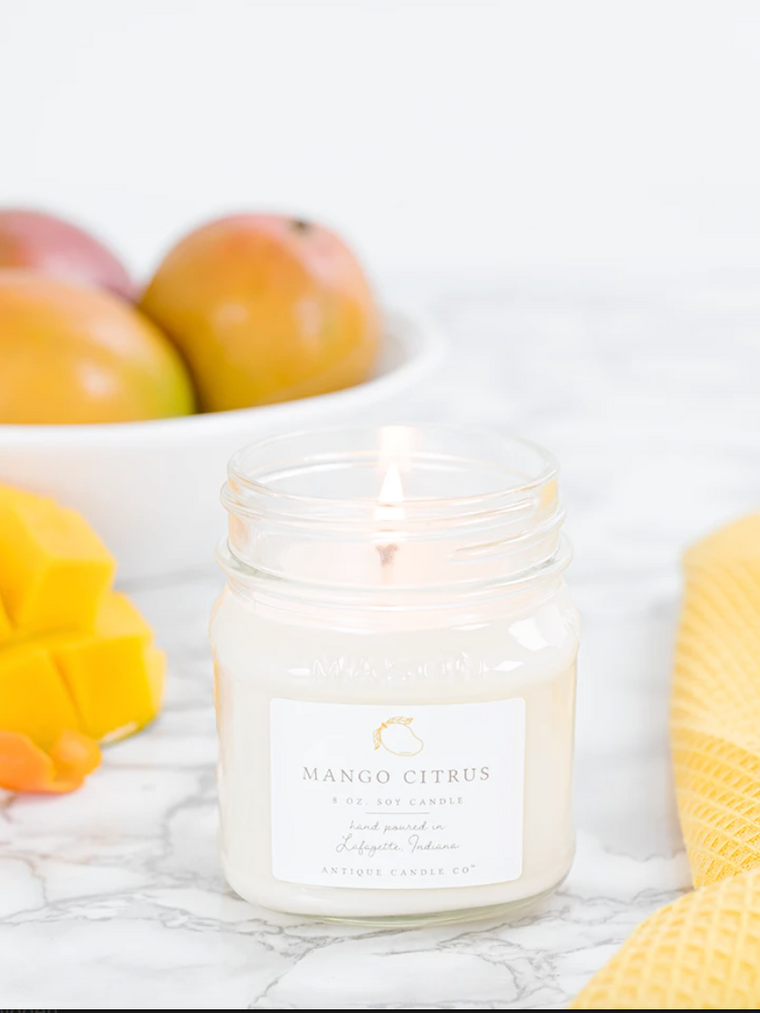 Mango Citrus 8oz Mason Jar Candle