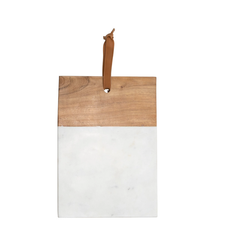Marble & Wood Square Cutting Board