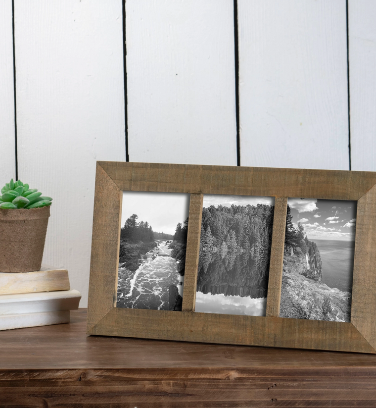 Natural Wood 4x6 Wood Photo Collage Frame
