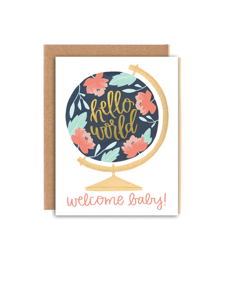 Welcome Baby Globe Greeting Card