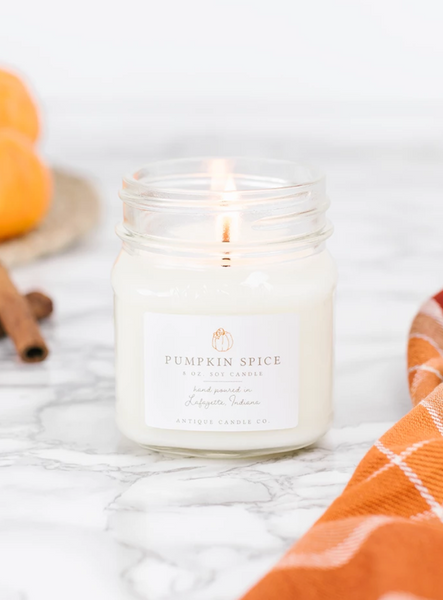 Pumpkin Spice 8oz Mason Jar Candle