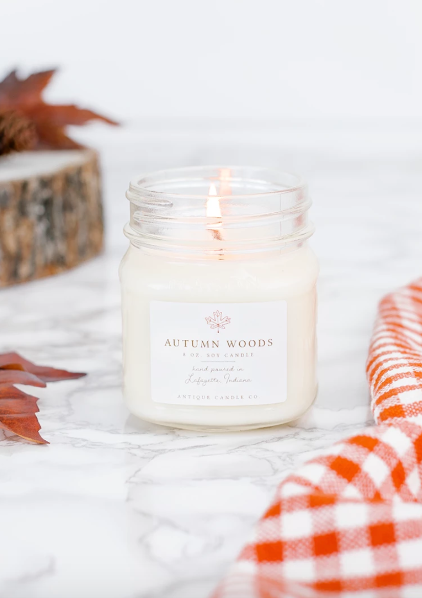 Autumn Woods 8oz Mason Jar Candle