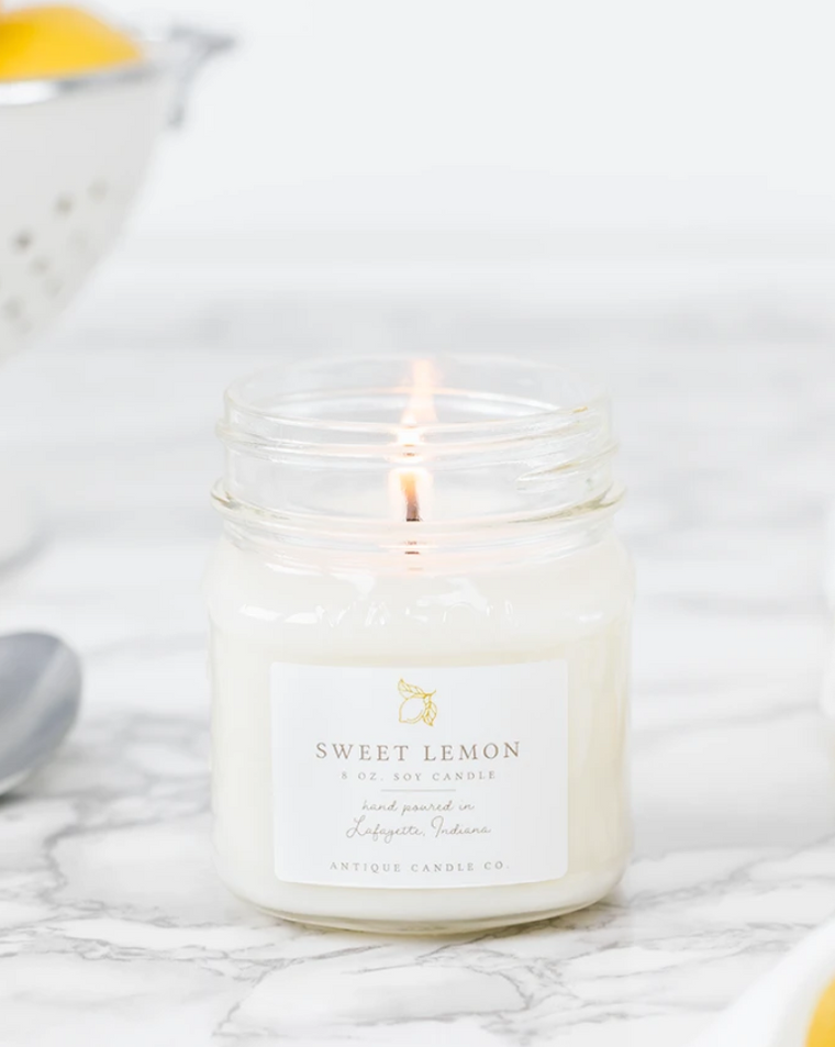 Sweet Lemon 8oz Mason Jar Candle