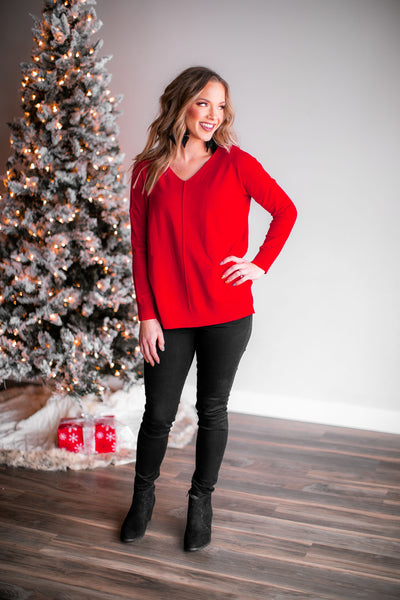Snuggle Weather Sweater (Red)