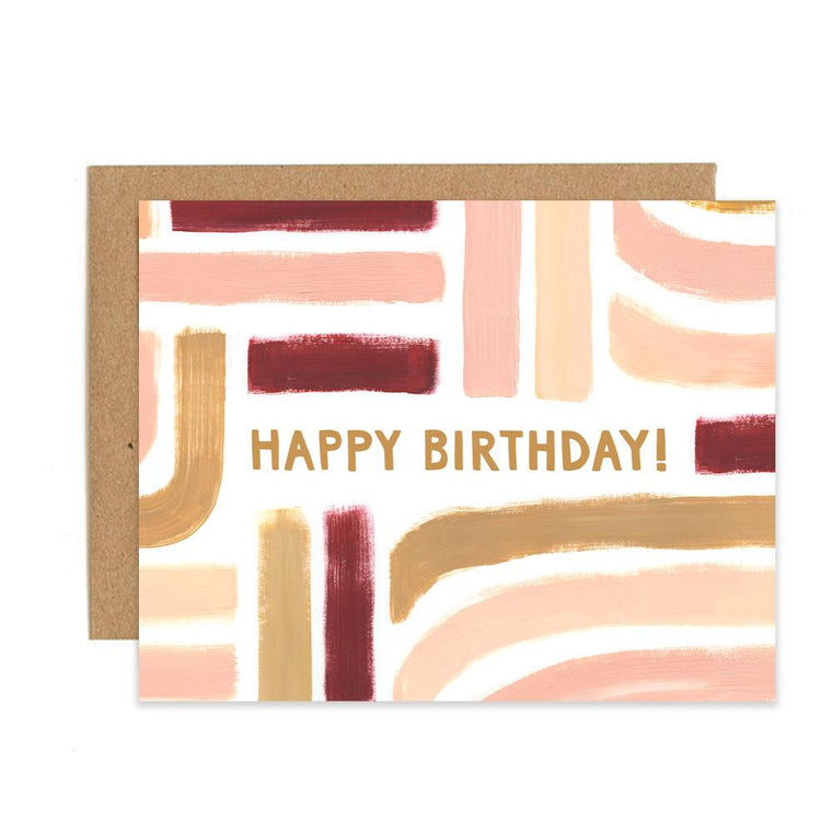 Sunset Stripe Birthday Greeting Card