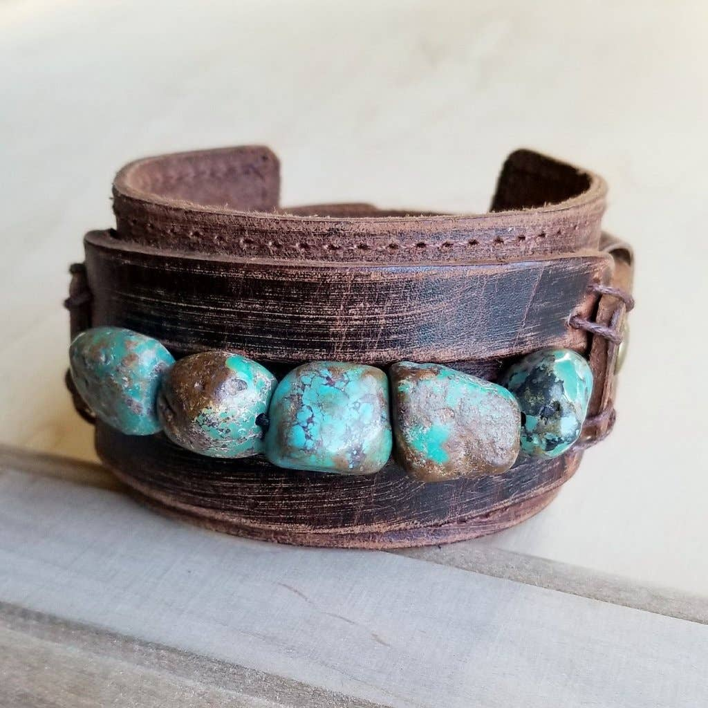 Wide Turquoise Leather Cuff