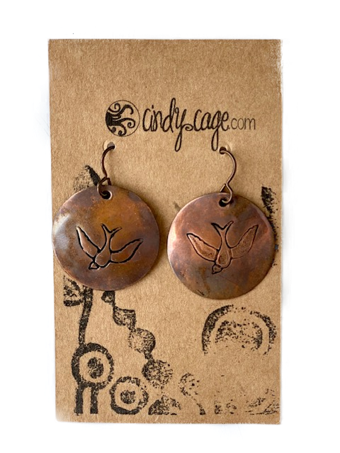 Earrings -- Cindy Cage Copper Discs