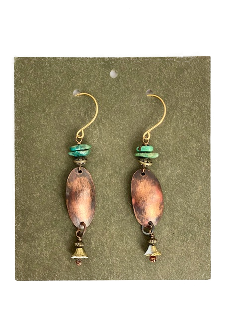 Earrings -- Stickmouse Turquoise and Copper