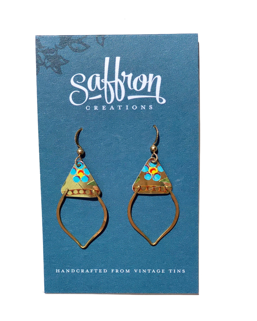 Saffron Earrings -- Mendhi Gold with Blue Flowers