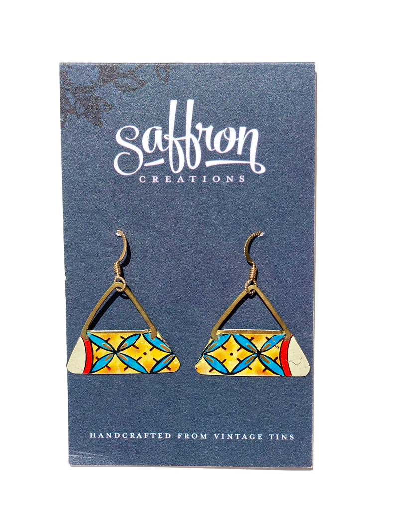 Saffron Earrings Pointed Triangle Yellow and Blue