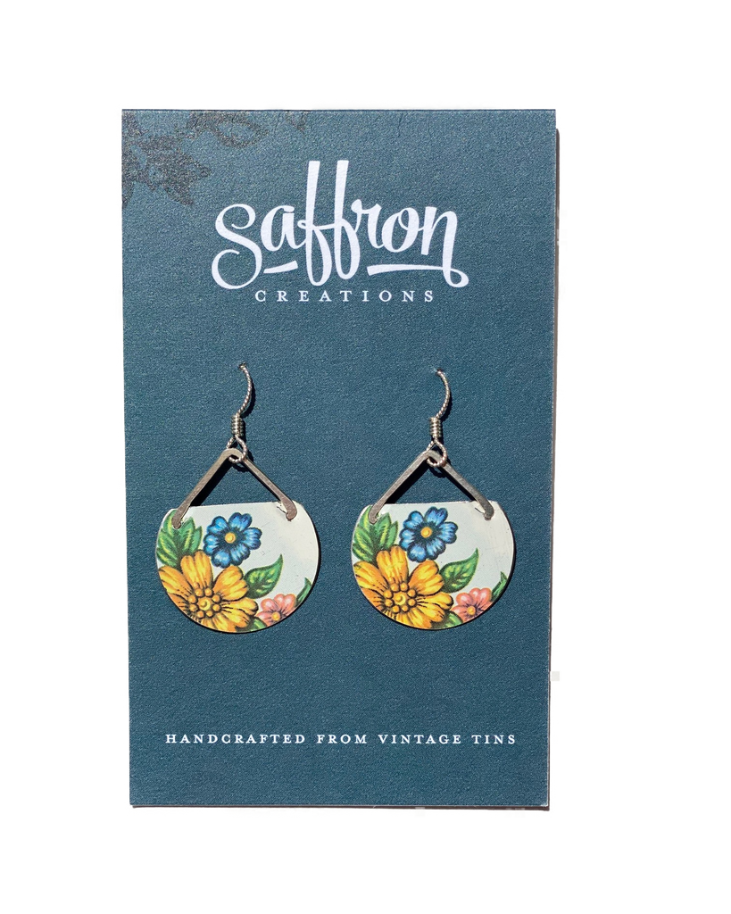 Saffron Earrings -- Pointed Circle Floral