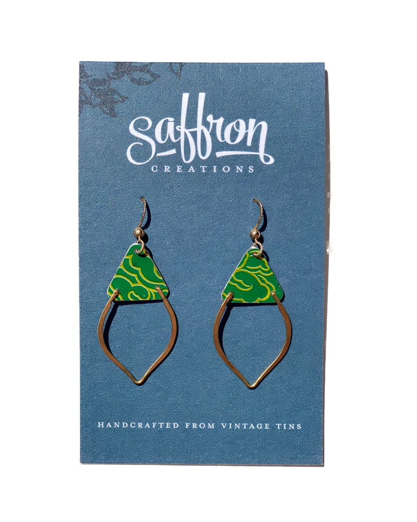 Saffron Earrings -- Mendhi Green and Gold