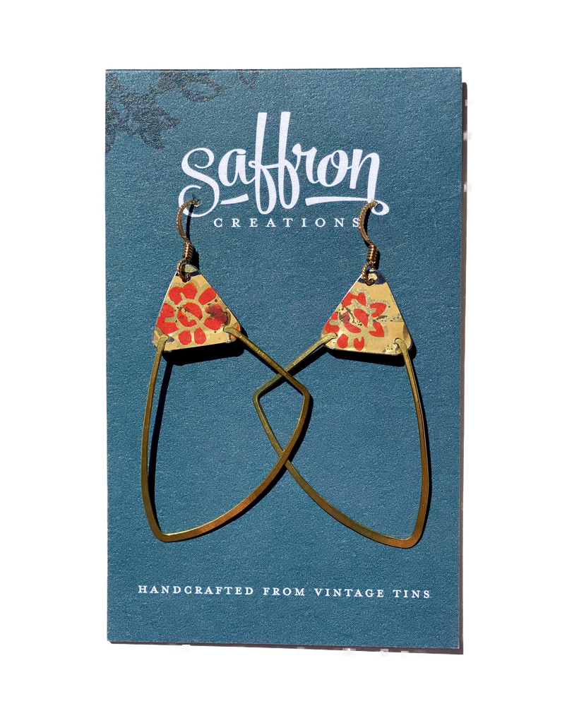 Saffron Earrings -- Wing Red and Gold