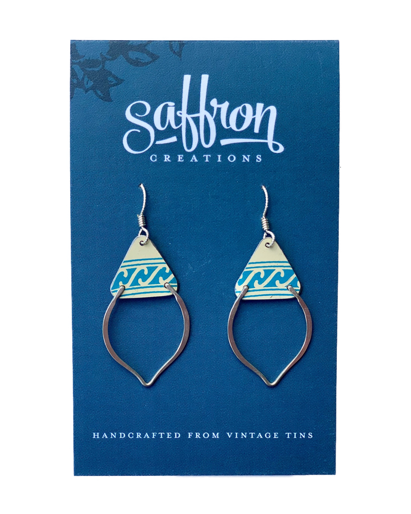 Saffron Earrings -- Mendhi Blue and White