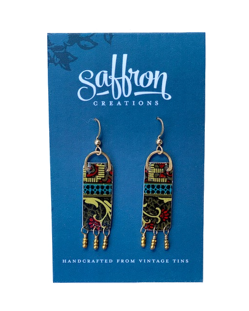 Saffron Earrings -- Fringed Bar Multicolor