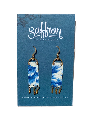 Saffron Earrings -- Fringed Bar Blue and White